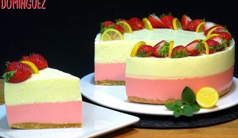 Cheesecake de fresa y limón SIN HORNO